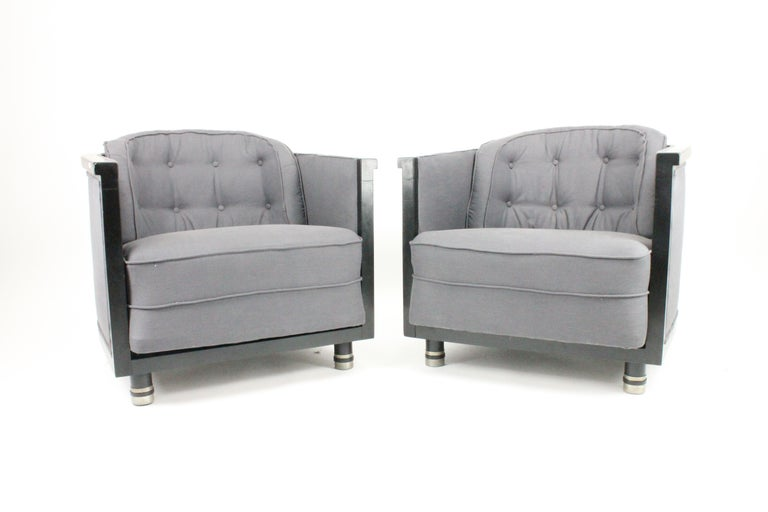 Very rare and stylish pair of chairs by Swedish designer Alvar Andersson. These were made early 1930s for Hyresgästernas Möbelförening. Newly upholstered, black painted and decorated with pewter. The associated table that is on one image is also up
