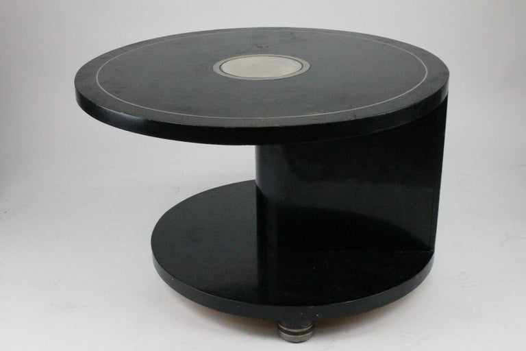 Alvar Andersson Table, 1933, Swedish, Black Painted with Pewter Inlays For Sale 2