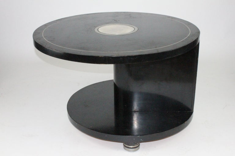 Alvar Andersson Table, 1933, Swedish, Black Painted with Pewter Inlays For Sale 3