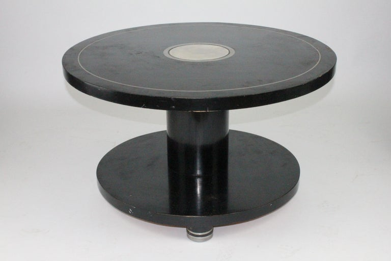 Alvar Andersson Table, 1933, Swedish, Black Painted with Pewter Inlays For Sale 5