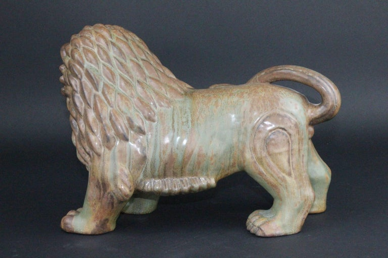 Glazed Large Swedish Ceramic Lion by Gunnar Nylund for Rörstrand For Sale