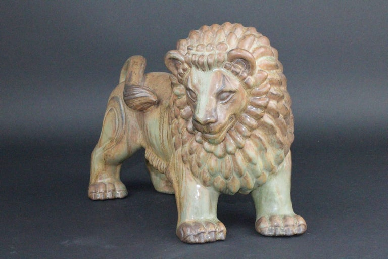 Scandinavian Modern Large Swedish Ceramic Lion by Gunnar Nylund for Rörstrand For Sale