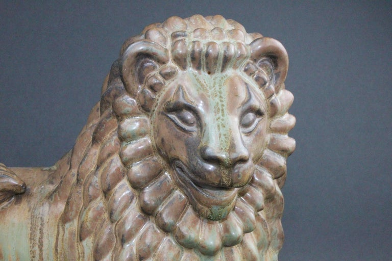 Large Swedish Ceramic Lion by Gunnar Nylund for Rörstrand In Excellent Condition For Sale In Skanninge, SE