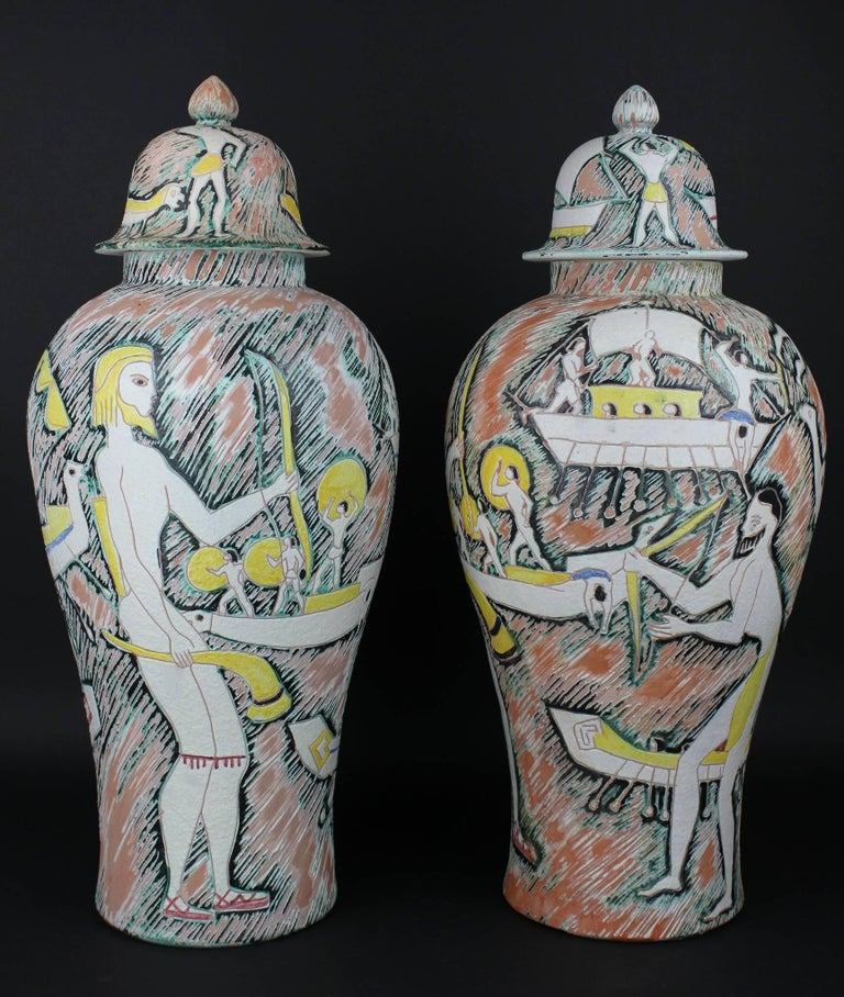 Modern Monumental Pair of Marcello Fantoni Etruscan Sgraffiti Vases with Covers For Sale