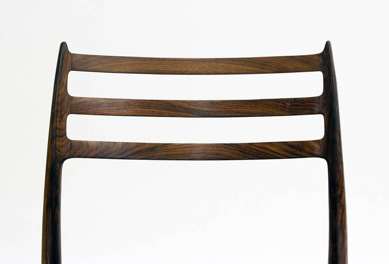 Leather Set of Eight Model 78 Rosewood Chairs by Niels O. Møller, Designed 1962 For Sale