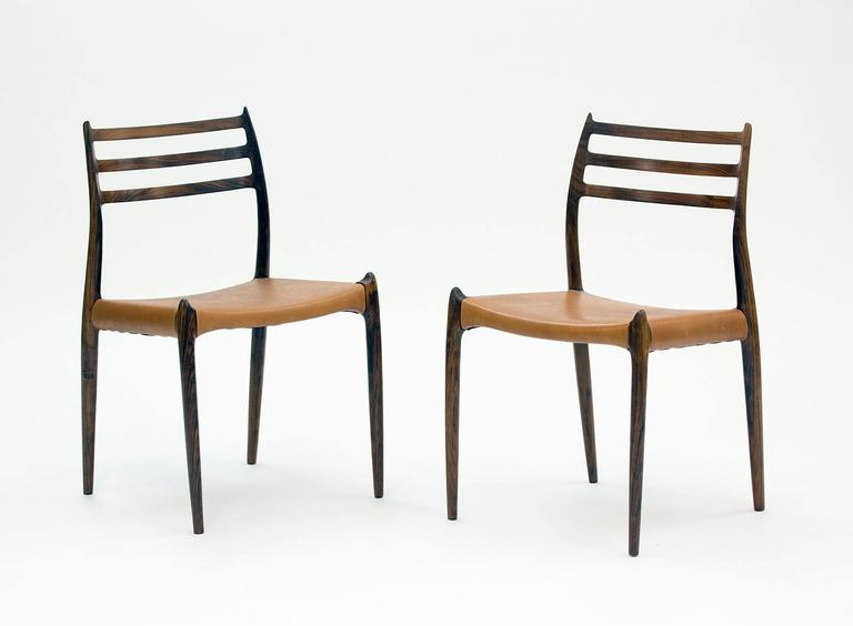 Scandinavian Modern Set of Eight Model 78 Rosewood Chairs by Niels O. Møller, Designed 1962 For Sale
