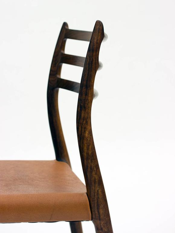 Mid-20th Century Set of Eight Model 78 Rosewood Chairs by Niels O. Møller, Designed 1962 For Sale