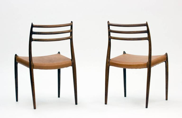 Danish Set of Eight Model 78 Rosewood Chairs by Niels O. Møller, Designed 1962 For Sale