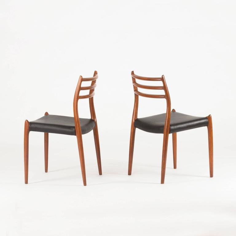 Danish Set of Eight Teak Dining Chairs by Niels O. Møller For Sale