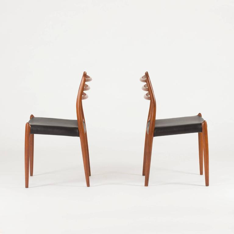 Scandinavian Modern Set of Eight Teak Dining Chairs by Niels O. Møller For Sale