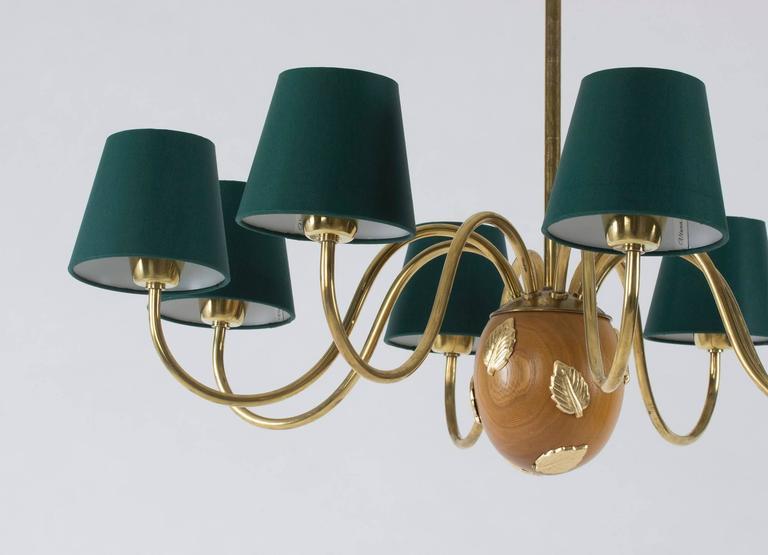 Scandinavian Modern Brass and Mahogany Chandelier by Hans Bergström For Sale