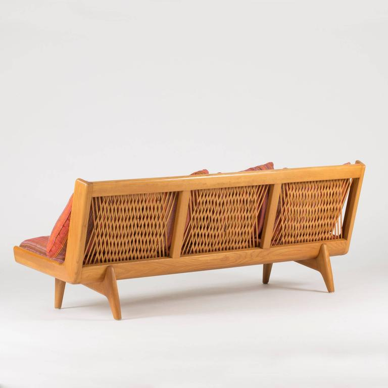 Exceptionnel Scandinavian Modern Leather Webbing Sofa By Gustaf Hiort Af Ornäs For Sale