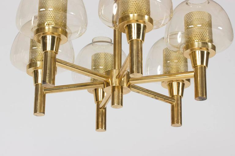 Mid-20th Century Brass and Glass Chandelier by Hans-Agne Jakobsson For Sale