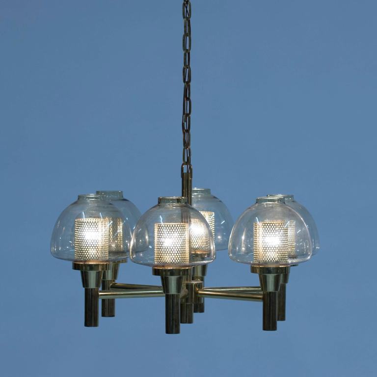 Scandinavian Modern Brass and Glass Chandelier by Hans-Agne Jakobsson For Sale