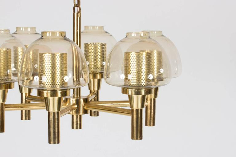 Swedish Brass and Glass Chandelier by Hans-Agne Jakobsson For Sale