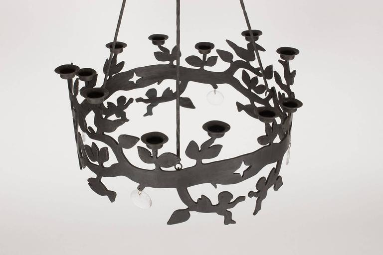 Mid-Century Modern Wrought Iron and Glass Chandelier by Bertil Vallien For Sale