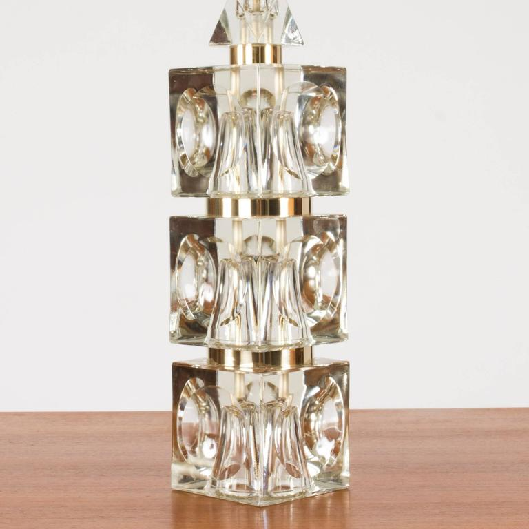 Mid-Century Modern Swedish 1960s Crystal Table Lamp For Sale
