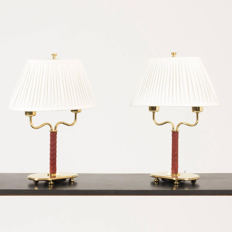 Pair Of Brass And Leather Table Lamps By Josef Frank For