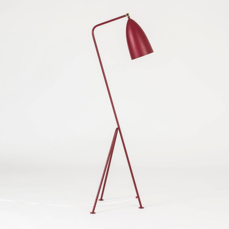 "Gorgeous raspberry red ""Grasshopper"" floor lamp by Greta Magnusson-Grossman. Made from lacquered metal with amazing lines and proportions."