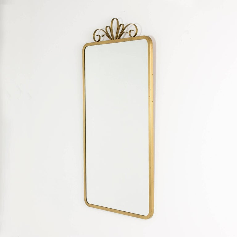 Brushed Brass Framed Mirror From Ystad Metal In A Clean Design With Rounded Corners