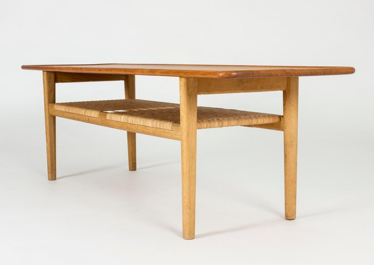 Danish Midcentury Teak and Rattan Coffee Table by Hans J. Wegner For Sale