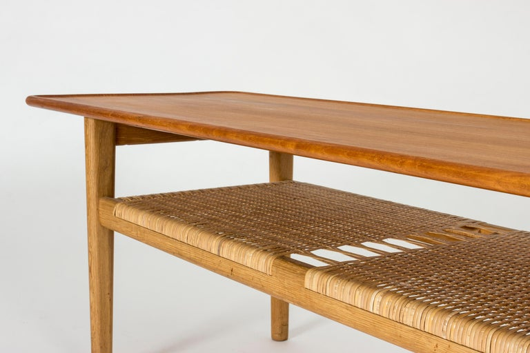 Mid-20th Century Midcentury Teak and Rattan Coffee Table by Hans J. Wegner For Sale
