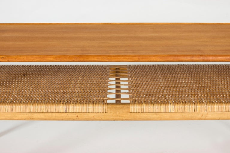 Midcentury Teak and Rattan Coffee Table by Hans J. Wegner For Sale 1