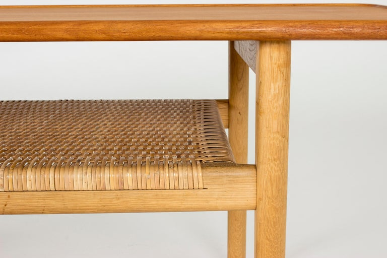 Midcentury Teak and Rattan Coffee Table by Hans J. Wegner For Sale 2