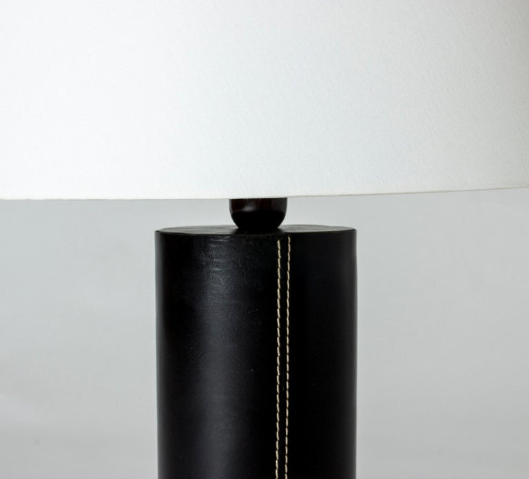 Swedish Midcentury Black Leather Table Lamp from Bergboms For Sale