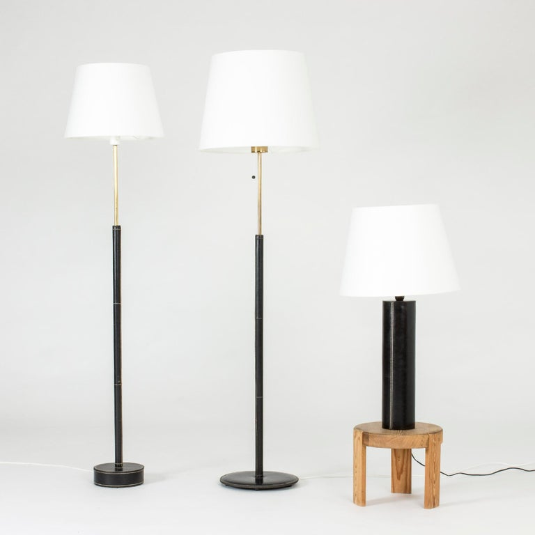 Midcentury Black Leather Table Lamp from Bergboms For Sale 1