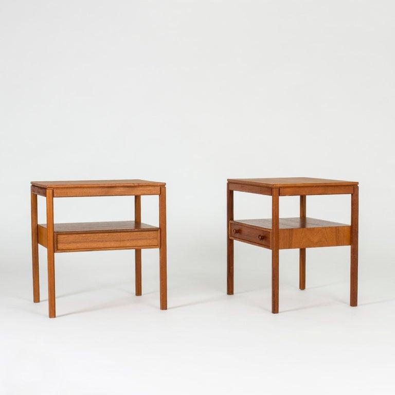 Scandinavian Modern Pair of Midcentury Teak Bedside Tables by Sven Engström & Gunnar Myrstrand For Sale