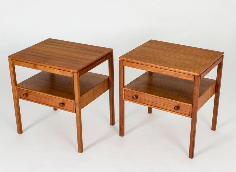 Swedish Pair of Midcentury Teak Bedside Tables by Sven Engström & Gunnar Myrstrand For Sale