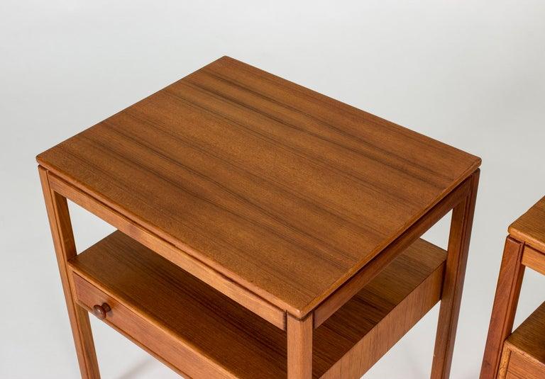 Pair of Midcentury Teak Bedside Tables by Sven Engström & Gunnar Myrstrand For Sale 1