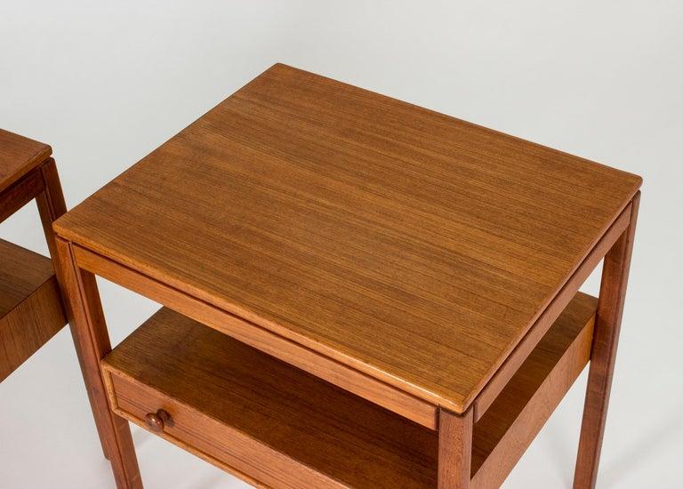 Pair of Midcentury Teak Bedside Tables by Sven Engström & Gunnar Myrstrand For Sale 2