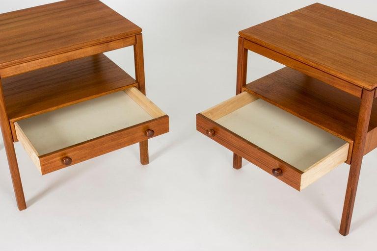 Pair of Midcentury Teak Bedside Tables by Sven Engström & Gunnar Myrstrand For Sale 3