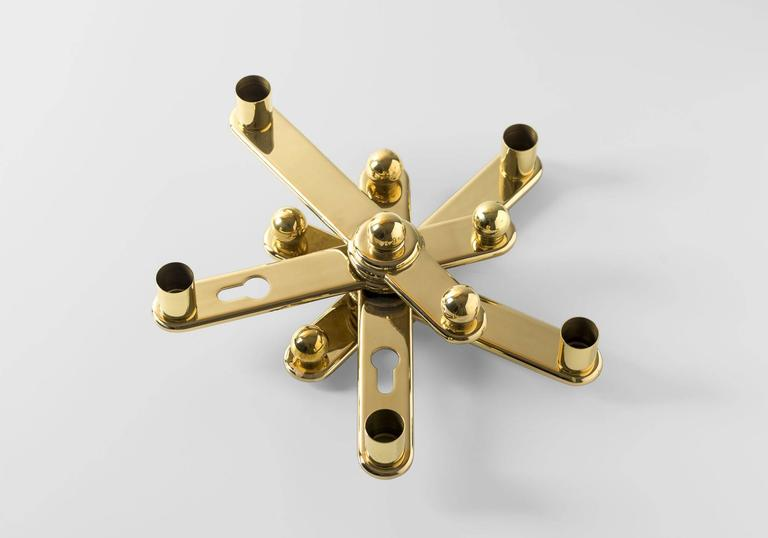 Candleholder in polished varnished brass limited edition of 75 designed by Curro Claret for BD Barcelona.  Dimensions: cm 28 x 28 x 9 H.  Remix project Vol.1 & Vol.2   Recuperate, reuse and reinterpret. BD is joining the prefixed RE