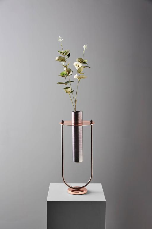Italian Elettra Metal Vase Designed by Federica Biasi for Mingardo For Sale