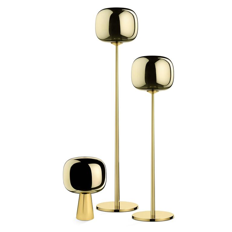 Dusk dawn lower floor lamp in polished brass and metalized glass designed by Branch for Ghidini, 1961.