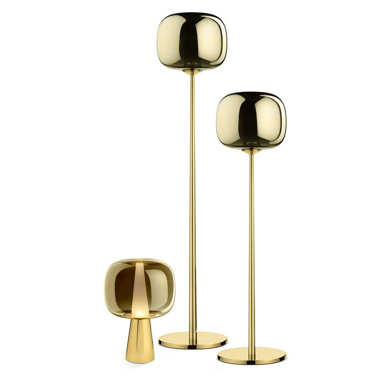 Italian Dusk Dawn Lower Floor Lamp in Brass and Metalized Glass Designed by Branch For Sale