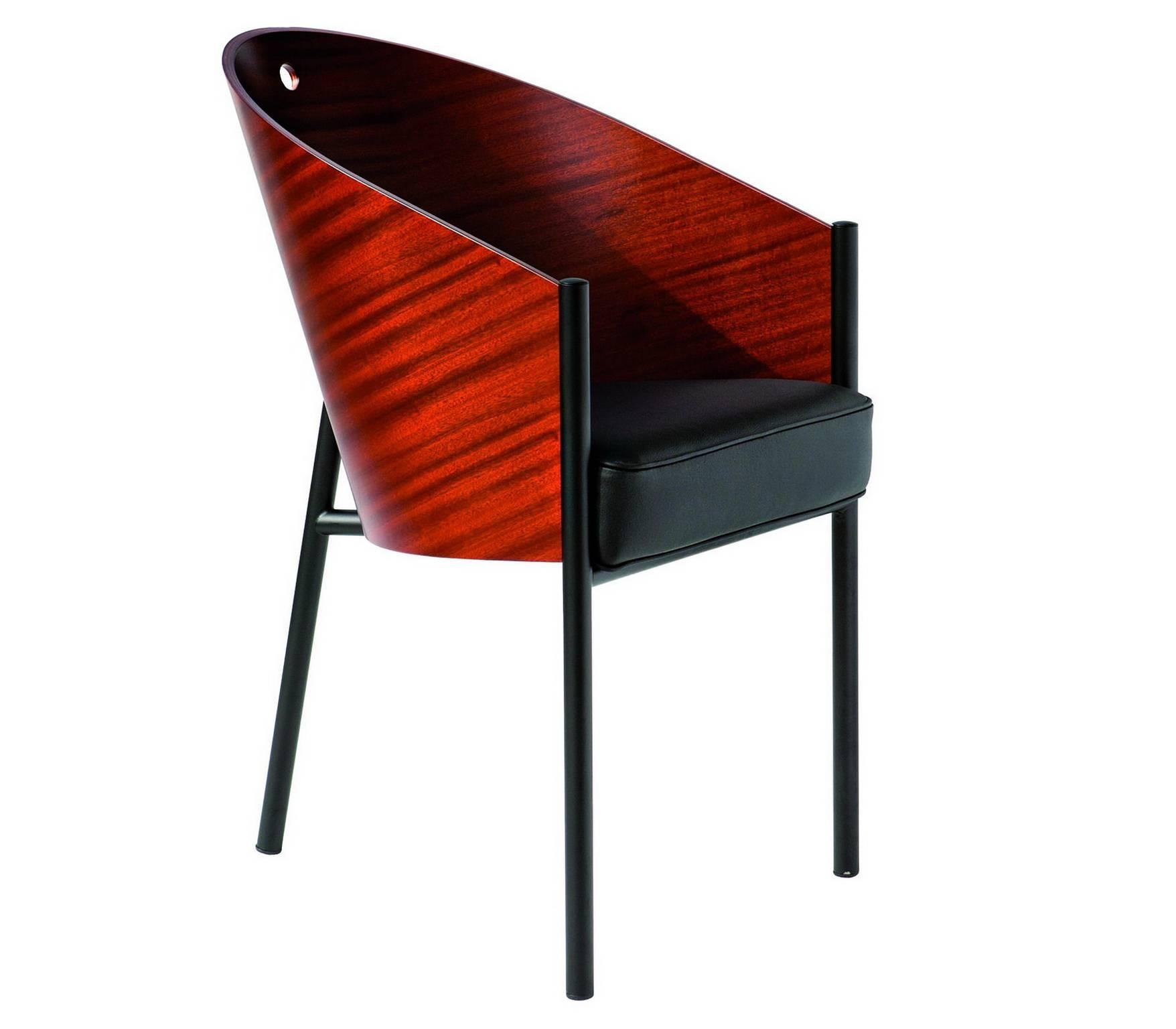 """""""Costes"""" Curved Mahogany or Grey Oak Plywood Armchair by P. Stark for Driade"""