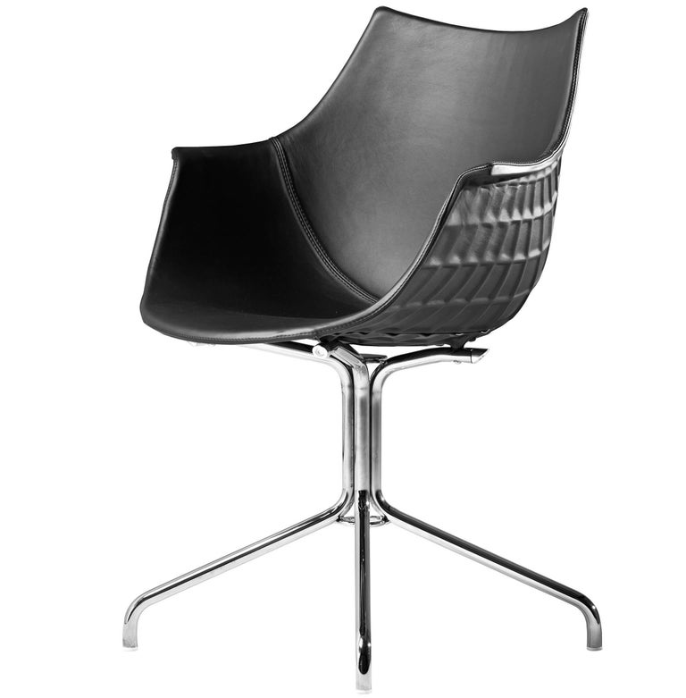 """""""Meridiana"""" Leather and Steel Chair Designed by Christophe Pillet for Driade"""