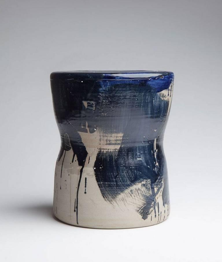 """""""Indigo"""" is a partially glazed stoneware stool, designed and produced by Canadian artist Pascale Girardin in a limited edition. It's part of the Cobalt Collection, which was the result of 18-months of research and hundreds of color tests to perfect"""