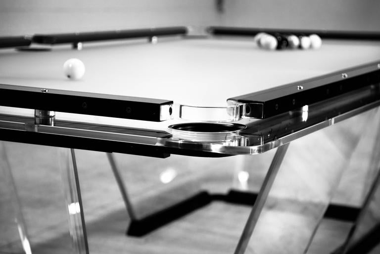 T1 crystal pool nine feet size table designed by marc for 1 4 size snooker table