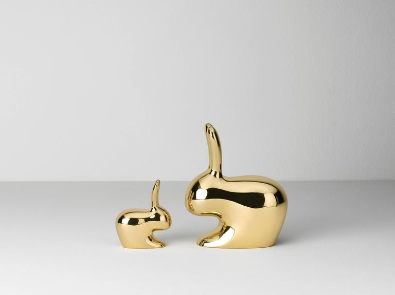Condiment salt and pepper in casted brass designed by Stefano Giovannoni.