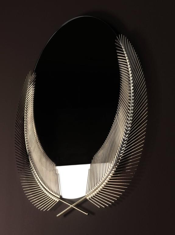 Mirror with casted palm leaves in polished brass, designed by Nika Zupanc for Ghidini, 1961.