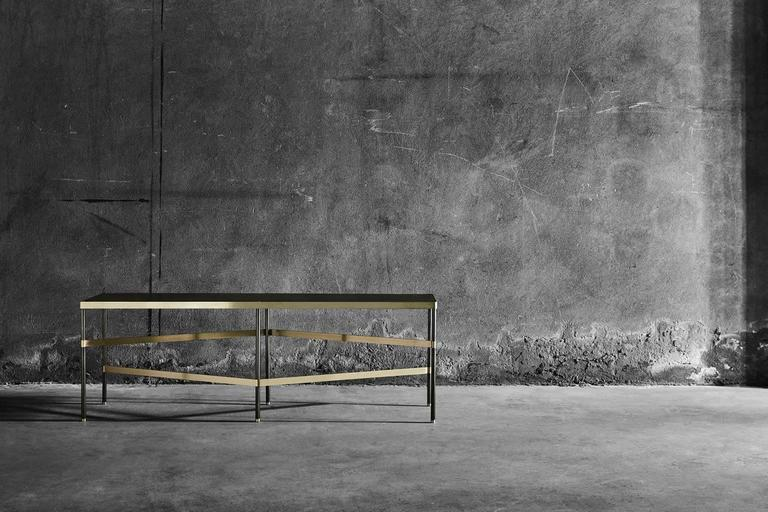 Brass Twine Iron Bench Designed by Alessandro Stabile for Mingardo For Sale