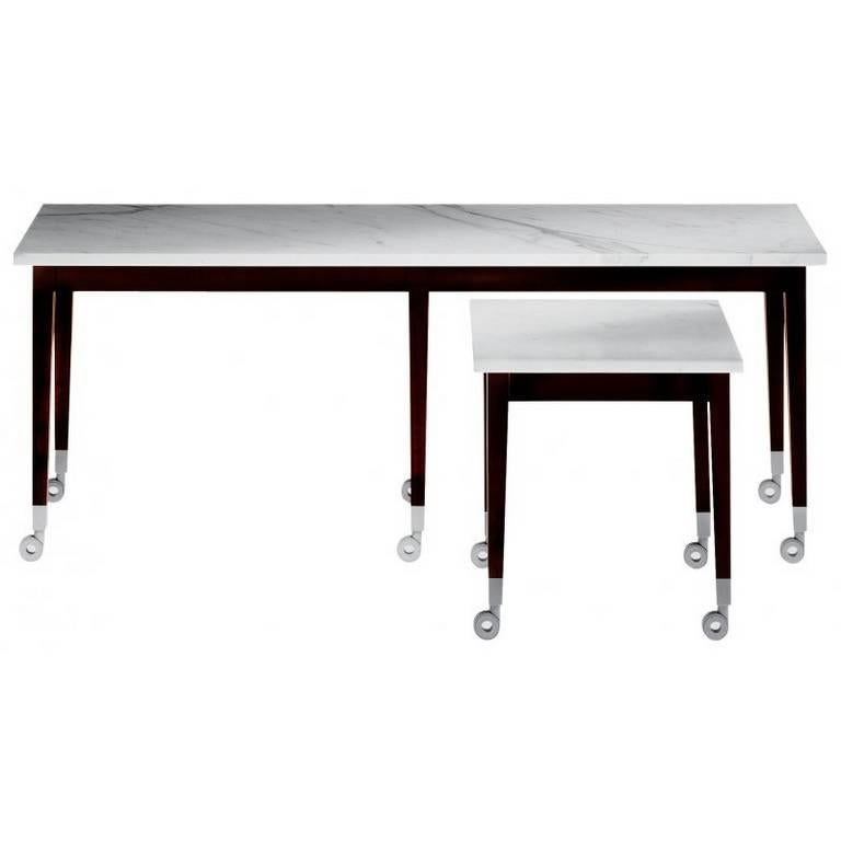 Neoz Carrara Marble Castored Coffee Table Designed By P Starck For Driade For Sale At 1stdibs