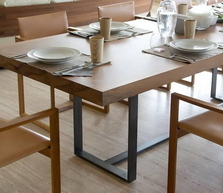 Brown Wooden Top And Metal Base Conference Table By S Lebrun For - Wood and metal conference table