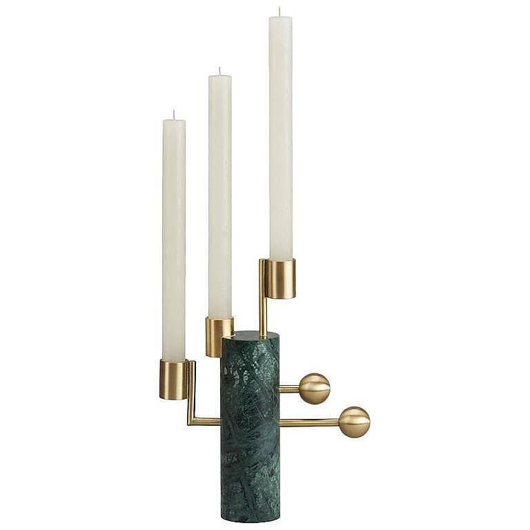 """Stargazer"" Verde Guatemala Marble Candleholder Multi Designed by Lara Bohinc For Sale"