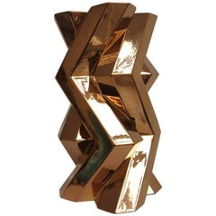 """Fortress Tower"" Dark Gold Ceramic Vase Designed by Lara Bohinc"